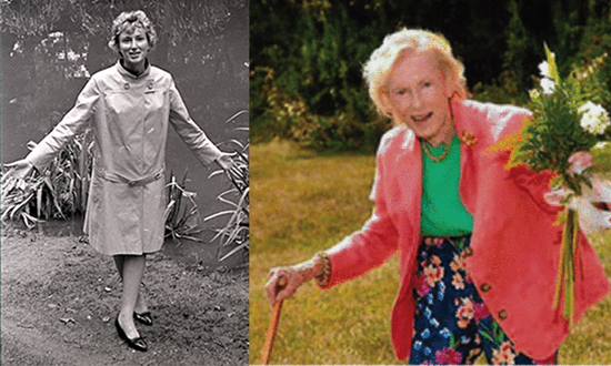 Ann Strong at middle age in a raincoat outdoors, and Strong in later life holding flowers