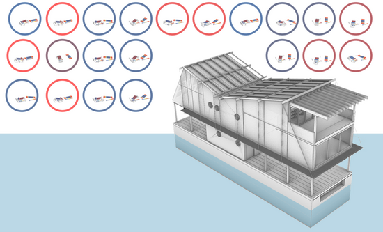 drawing depicting a floating wood structure on a concret hull with small diagrams of orientation optimization study