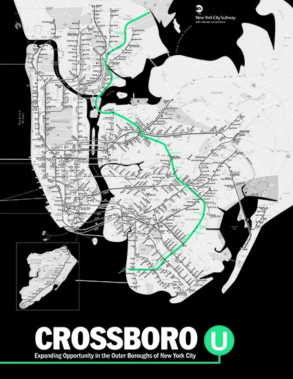 Crossboro U, Expanding Opportunity in the Outer Boroughs of New York City. Background: Map of the 'U' line of the New York City Subway.