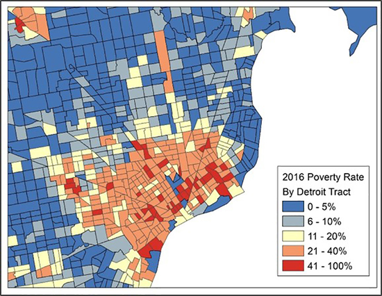 Map of poverty rates in detroit.