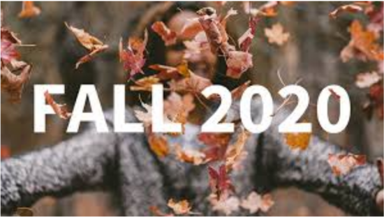 "Woman throwing leaves with text ""Fall 2020"" in foreground"
