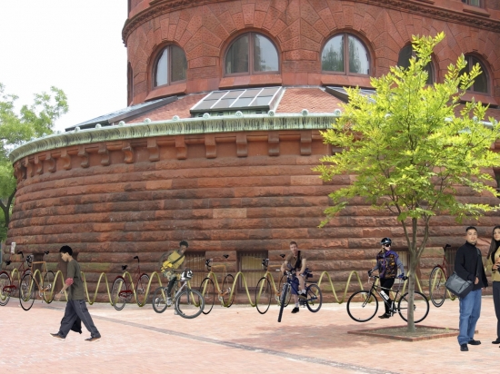 Rendering of PennBike installed in front of the Fisher Fine Arts Library