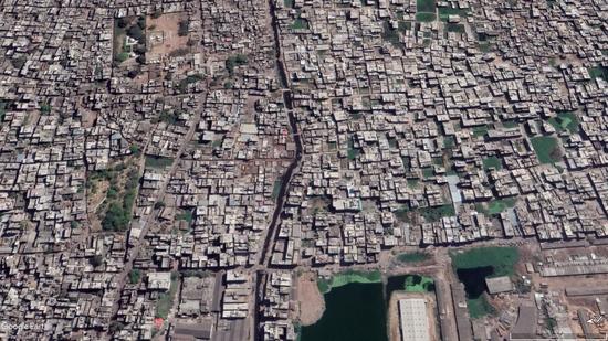 Birds eye view of urban sprawl