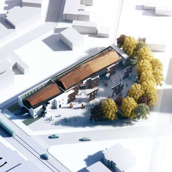 Rendering with aerial view of single story building with copper-colored roof
