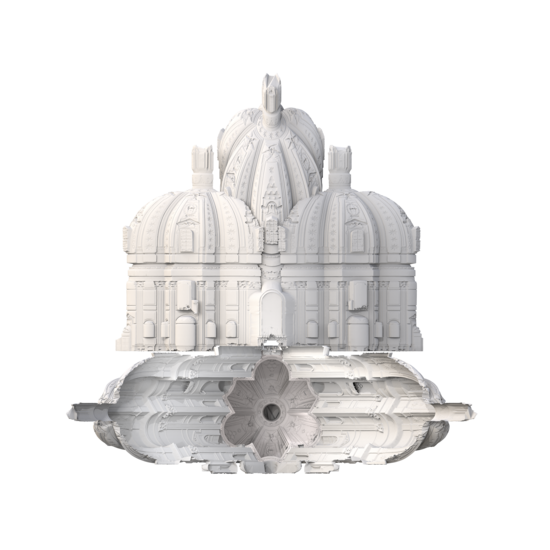 3D model of baroque era building. Model is all white which allows one to more easily see the elaborate details