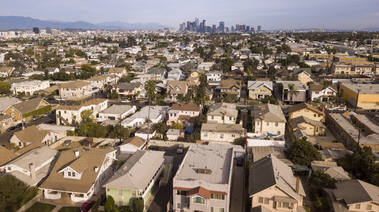 Aerial view of low rise housing in Los Angeles