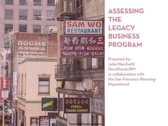 """Title slide of Julia Marchetti's presentation to the San Francisco Planning Department: """"Assessing the Legacy Business Program."""""""