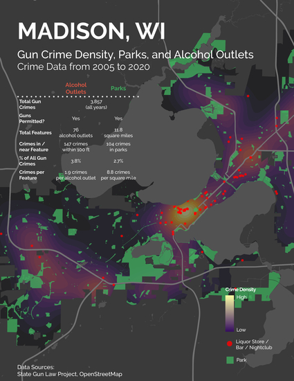Map of Madison Parks WI showing very loose coralation between gun violence and liquor store locations