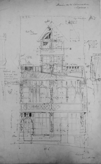 Blueprint sketch of two story house with balcony and widow's watch