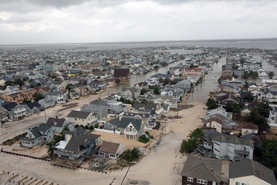 Flooded residential neighborhood. Sand has also come in several hundred meters from the beach