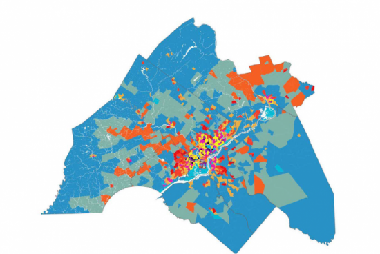 Map of Philadelphia area with certain areas highlighted