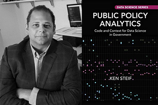 "Ken Steif and cover of ""Public Policy Analytics"" book"