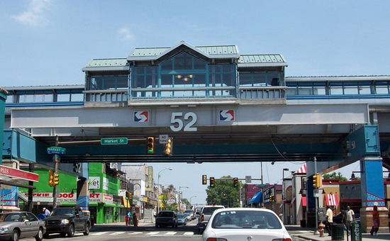 SEPTA 52 Street Station crossing over a street