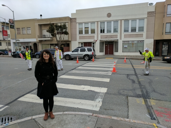 ShaydaHaghgoo supervising the implementation of her first crosswalk.