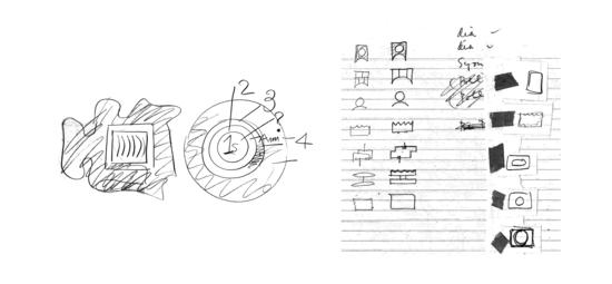 Abstract sketches resembling blueprints diagrams and menu options