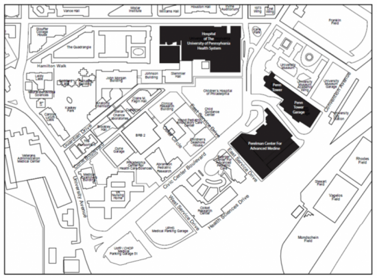 Map of University of Pennsylvania health system.