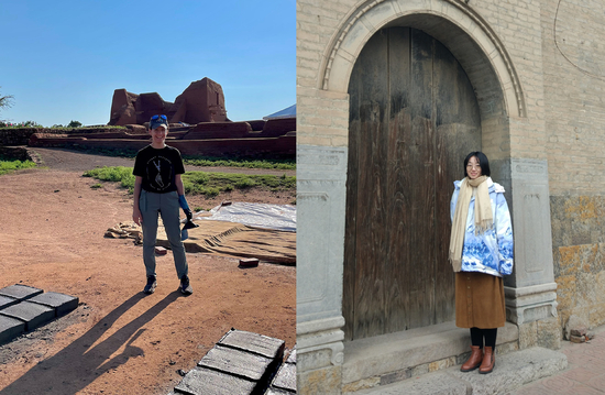 Two photos side by side: Ali Cavicchio in the field and Ying Wang in front of a big arched door