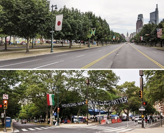 Two images are shown in comparison: an empty Benjamin Franklin Parkway and the entrance of the Occupy PHA site