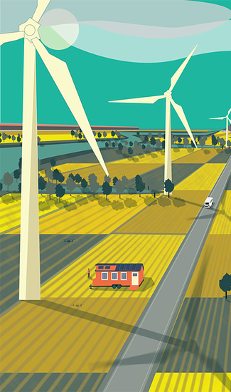 Cartoon-like illustration of countryside showing a house and large wind turbines