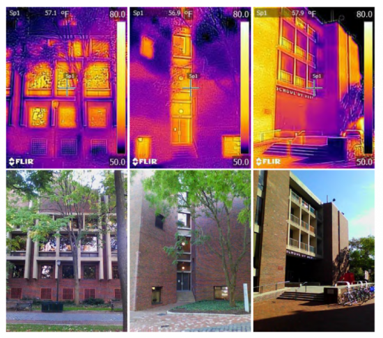 Photos of buildings compared to infrared photos of the same buildings.