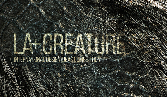 Graphic with text LA+ CREATURE with fur and scales
