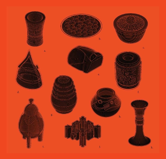 Vessels and other artifacts from the Penn Museum illustrated in black on red