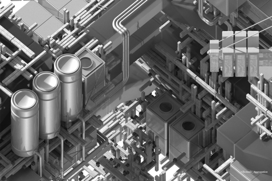 Grayscale image of overlapping pipes and lines