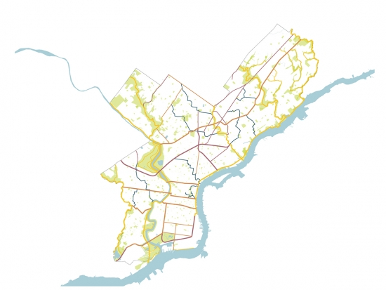 Rudimentary map of Philadelphia including green spaces.
