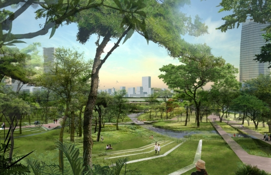 Visualization of architectural project in park area.