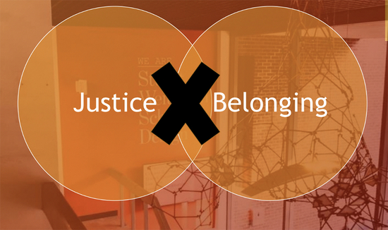 Graphic w two circles and the words Justice and Belonging separated by a large X