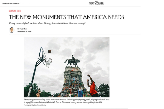 Web page from newyorker.com showing Robert E. Lee statue in Richmond, VA