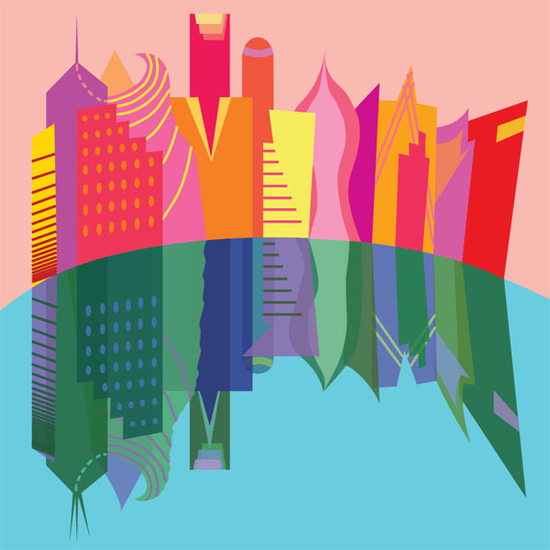 Stylized city skyline where all of the building are cartoonishly colored in pink, yellow, red and orange. Below the skyline is flipped image of the skyline where all of the colors of the buildings are the complementary opposite of what they are above.