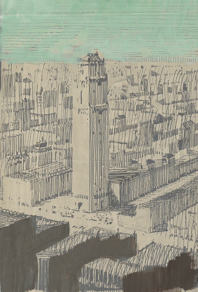 Pastel sketch of skyscraper by Raymond Hood