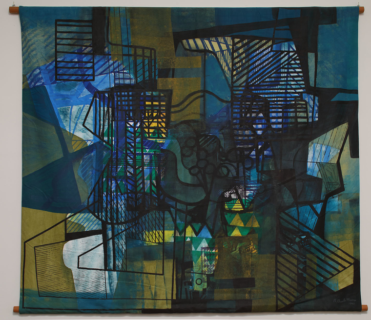 Abstract painting featuring boxes containing rows of lines and blue and green background