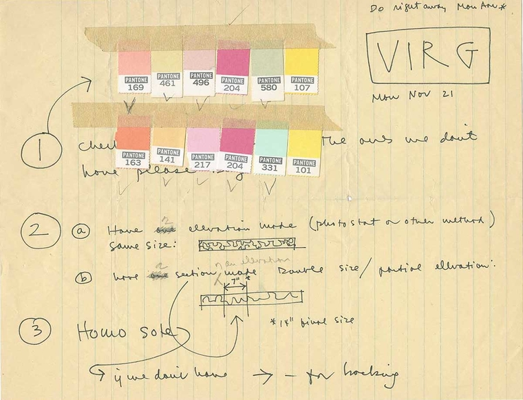 Artists notes on color samples