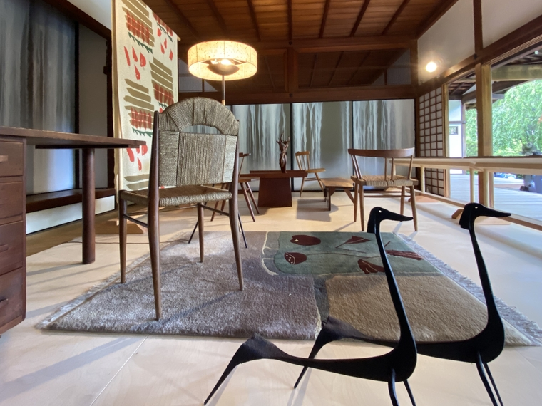View of funriture and decorative objects on display at Shofuso House.