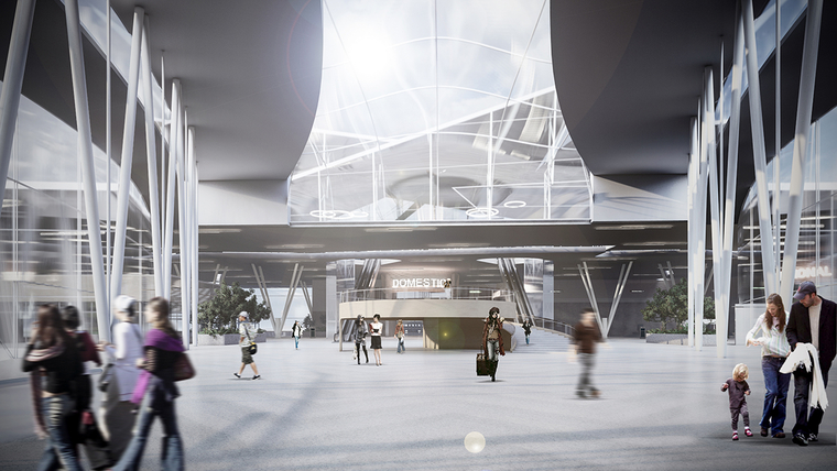 Rendering of a proposed interior space for an airport
