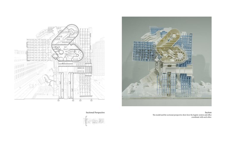 The one point perspective drawing and model show the spatial experience within the project.