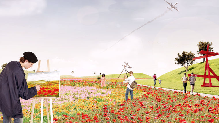 Rendering of a field in a proposed park