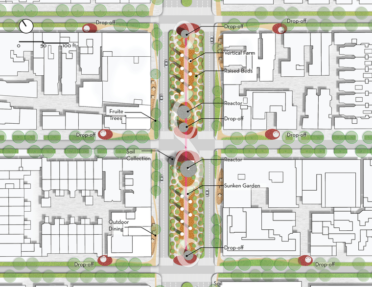 Site Plan shows the on-site waste collection and treatment system, and the urban farm at the street median