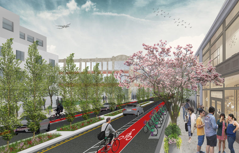 Rendering of improved streetscape in Newark