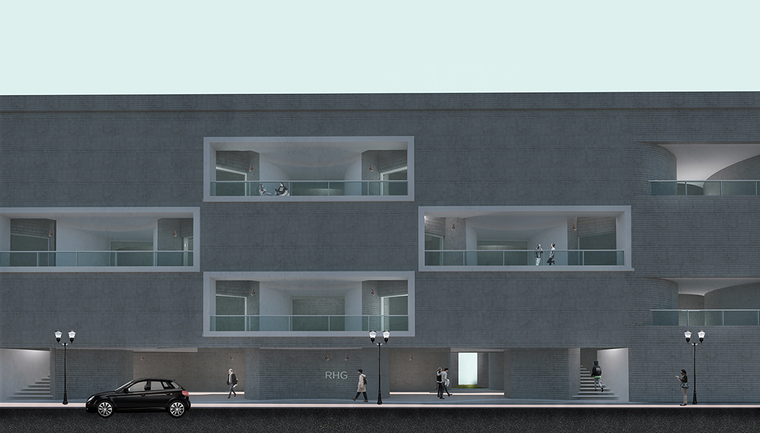 Rendering of the exterior of a long flat building on a street