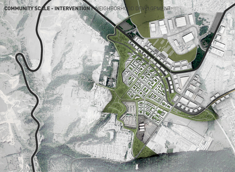 plan of overall intervention including neighborhood design and green armature connecting larger ecological network