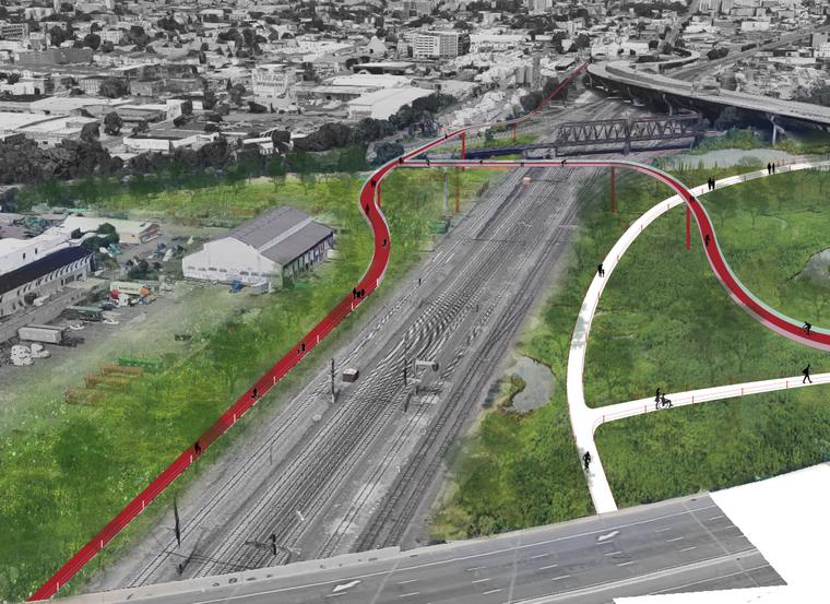 Plan for a bike trail crossing a rail line