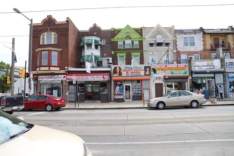 Facades of a block of stores