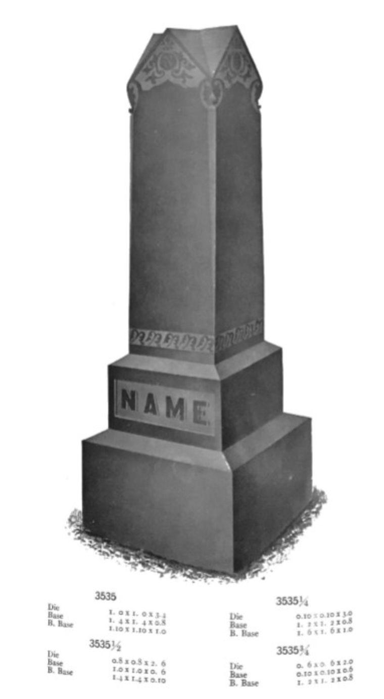 Old ad for marble headstone