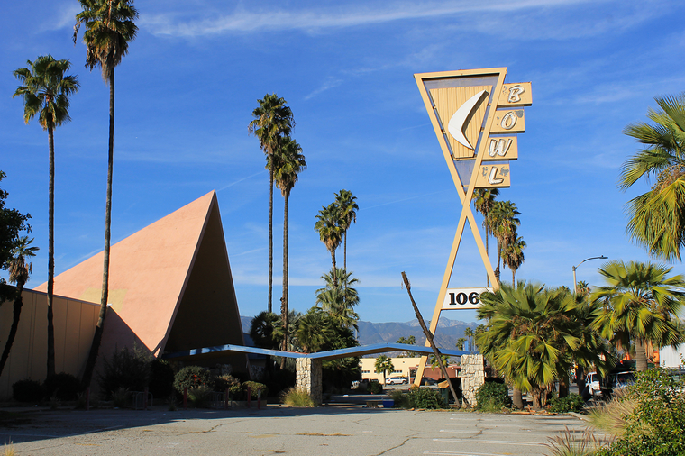 The Covina Bowl, vacant the iconic Googie building is vulnerable to change and demolition. Covina, California.