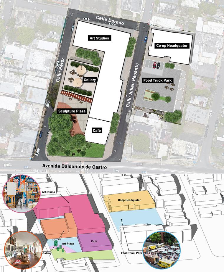 Overhead view of a neighborhood with graphics