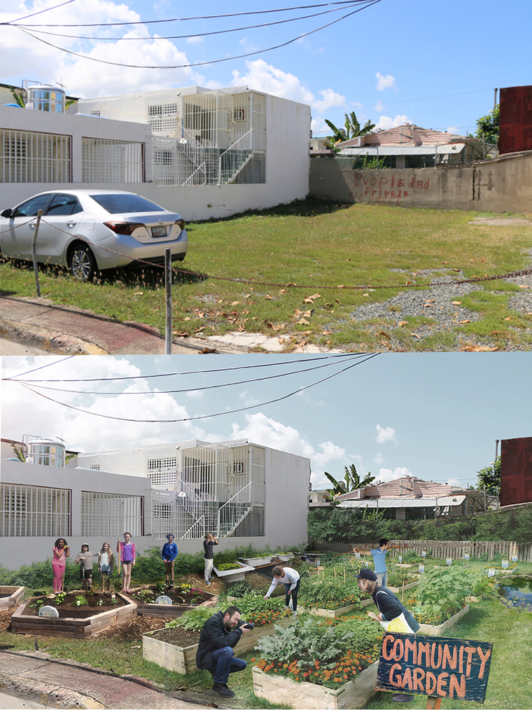 Image showing current conditions in a vacant lot and proposed changes