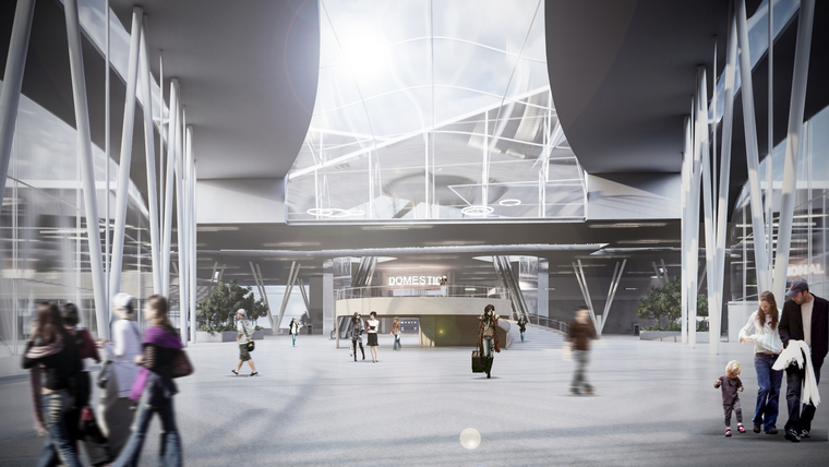 Rendered Image of the Arrivals Hall in the Newark Airport Headhouse